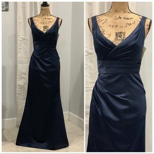 Bill Levkoff satin navy floor length gown size 8